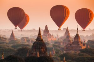 """A hot air balloon over the """"City of Temples"""" in Bagan"""